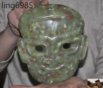 A  Ancient Chinese Hongshan Culture Old jade Hand-carved people face mask statue