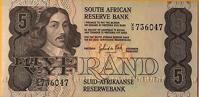 South Africa 5 Rand UNC Replacement Note. 1981/89 Dr G P C De Kock.