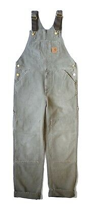 Carhartt WIP Bib Overall, Canvas, Leaf Stony Washed, W32in L32in