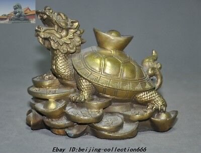 Chinese Fengshui Brass yuanbao Money Coins Dragon Turtle Tortoise Wealth Statue