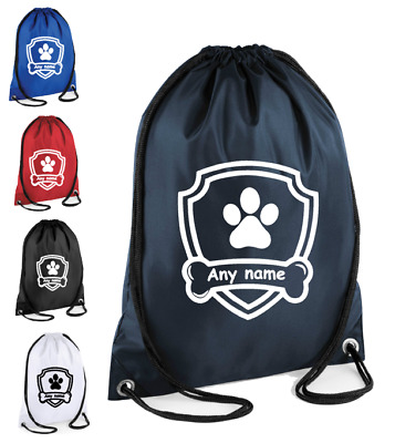 Personalised Drawstring Bag Dog Rescue Patrol School Gym PE Sport Kit Kids Gift