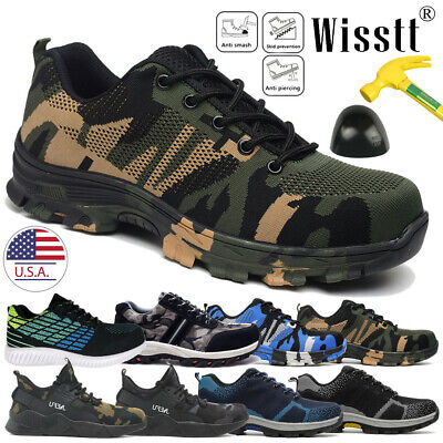 Mens Safety Shoes Non-Slip Steel Toe Work Boots Breathable Hiking Climbing Multi