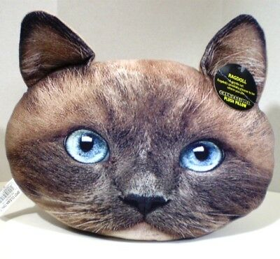 Expressions Plush Pillow Cat Face Ragdoll NWT