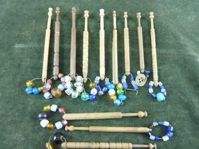 12 nice Vintage wooden turned Lace bobbins with  spangles #1