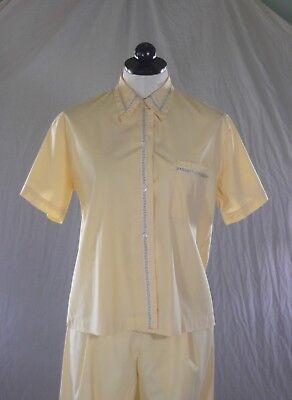BaRgAiN BiN : MARY JANE vintage 50s 60s YELLOW PAJAMAS embroidered tape 34
