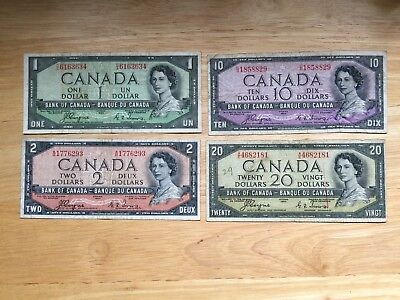 Set of 4 Devil's face bank notes all Coyne/Towers  LOOK at Pictures