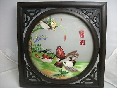 Vintage Chinese Art Silk Embroidery Fighting Birds Carved Wooden Frame
