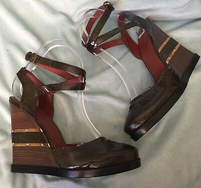 d70eea41a0fe Marc Jacobs Green Jelly Liza Patent Military wedge sandals size 8.5 Gold  Shoes