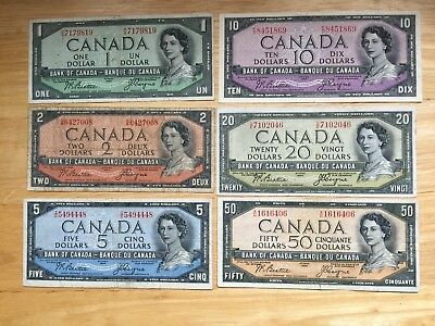 Set of 6 Devil's face bank notes all Beattie/Coyne  LOOK at Pictures