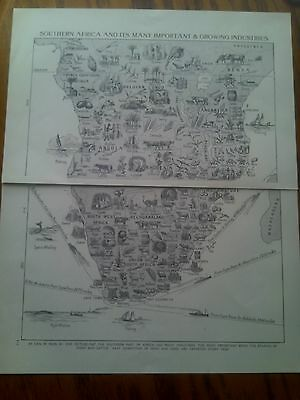 1924 South Africa Map Growing Industries or Rivers & Lakes 2 Pages Ideal Frame?
