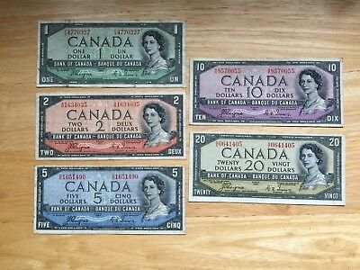 Set of 5 Devil's face bank notes all Coyne/Towers  LOOK at Pictures