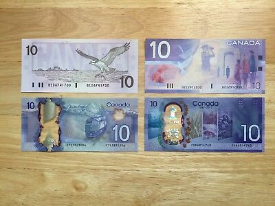 Set Of 4 Diffrente $10 Canadian Bank Notes In Gem Uncirculated Condition