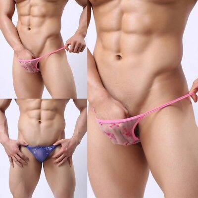 Sexy Mens Lingerie G-String Briefs Mesh Transparent Thong T-back Pouch Panties