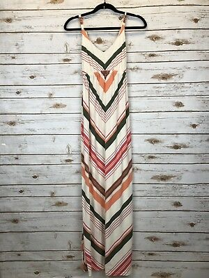 Old Navy Women's maternity White Coral forest green Striped Tie Back Dress Sz S