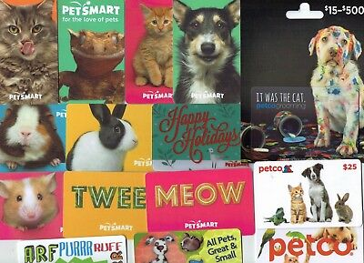 PETSMART / PETCO Collectible Gift Card LOT of 15 Different - Dog, Cat - No Value