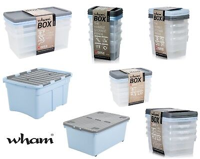 Wham Whatmore Storage Boxes Plastic Containers Heavy Duty Stackable Boxes Strong