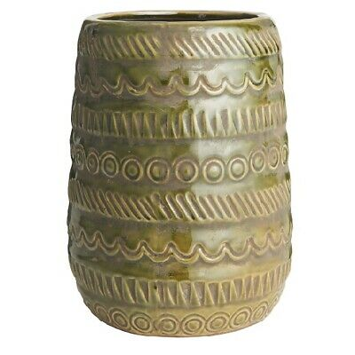 Olive Vase With Pattern by Ib Laursen