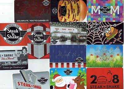 STEAK 'N SHAKE Collectible Gift Card LOT of 13 Diff - Some Die Cut or Lenticular