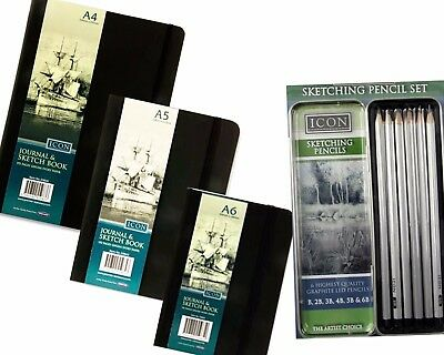 Set of A4 A5 A6 Sketch Pads Ivory Art Paper Journal with Free Sketching Pencils