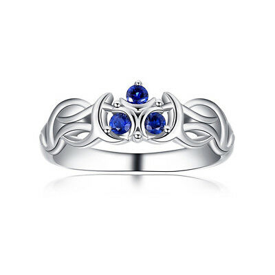 Women's Legend of Zelda Zora Sapphire Link Breath Of Wild Silver Engagement Ring