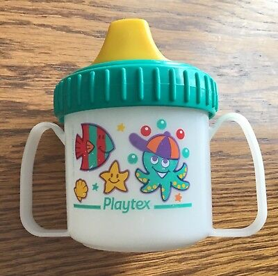 Vtg 1997 Playtex Toddler Plastic Baby decorated Training Sippy Cup