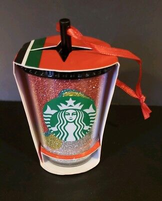 Starbucks 2018 Multi Colored Glitter Cold Cup Ornament, Brand New