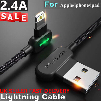 UK MCDODO Braided Auto Disconnect Lightning Data USB Charging Cable iPhone 8 7 6