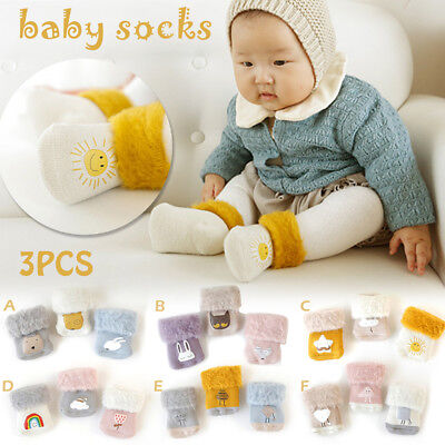 3Pair/set Newborn Baby Infant Kids Soft Anti Slip Thicken Wool Socks Warm Winter