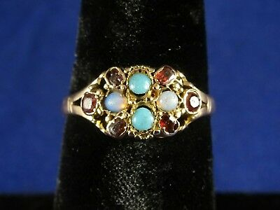 Late Georgian Early Victorian Closed Back Ring, Garnet, Turquoise, Opal, size S