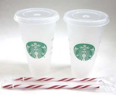 Starbucks Lot of 2 Frosted Reusable 24 oz Venti Cold Cup Tumblers Stripe Straws