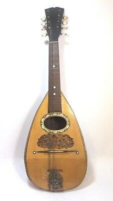 Antique Italian Mandolin Neapolitan 8 String c. Late 19th/Early 20th C. No Maker