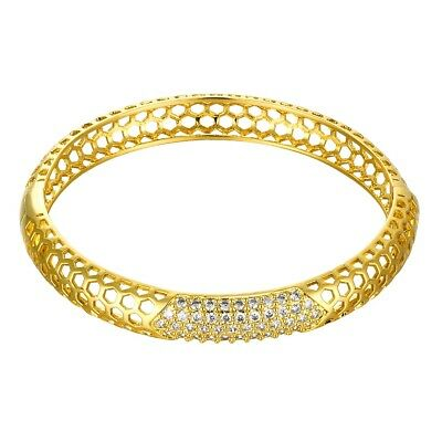 Square Link Tennis Bracelet with in 18K Gold-Plated Brass