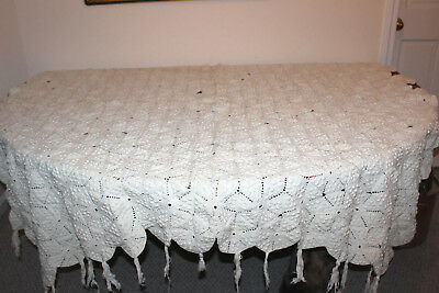 Antique Cotton Hobnail French Country Crochet Bedspread /Tablecloth 64 x 70