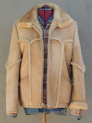 >ll==California Rancher==ll> 100% Real Shearling Leather & Fur Coat Size (M)