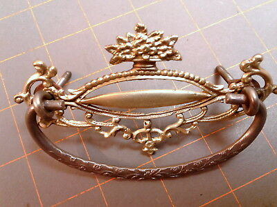 Antique Fancy Victorian Cast Brass Steel Bail Drawer Pull Polished Circa 1910