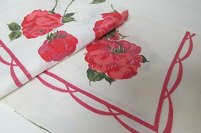 "Mid-Century Cotton Kitchen Tablecloth Red Roses 51"" x 52"""