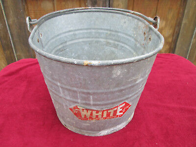Vintage White Co. Oval Galvanized Metal Industrial Mop Bucket # 614