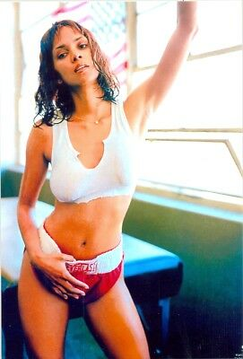 Halle Berry - In Red Boxing Trunks - Too Small - After Working Out ??