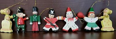 CHRISTMAS ORNAMENTS VINTAGE HAND PAINTED WOOD---LOT OF 7 pieces