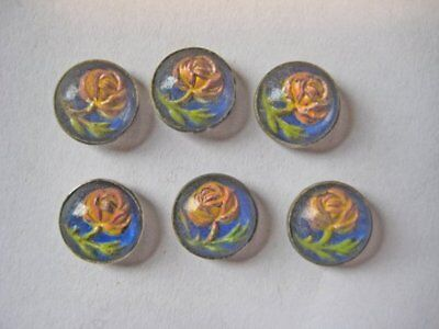 6 pcs Vintage Antique Early 1900's Handpainted Floral Buttons Metal Backing