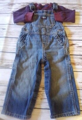 Oshkosh B'Gosh Vestbak Toddler Boy's Denim Overalls w/Shirt Sz 18 Months