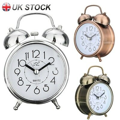 Home Loud Double Metal Bell Mechanical Quartz Alarm Clock Snooze Night Light