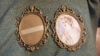 ANTIQUE Vintage BRASS Victorian Pair PICTURE FRAMES - Ornate WALL FRAMES