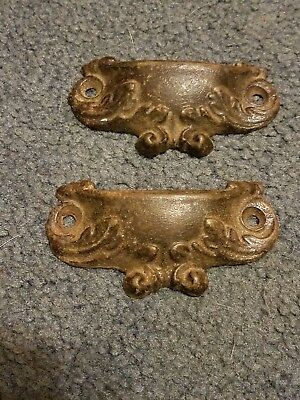 "2 Cast Iron Brown 3 3/4"" Cup Pulls Drawer Cabinet Bin Handles Rustic Vintage"