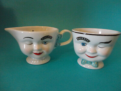 Vtg Baileys Winking Yum Lady Creamer and Man Sugar Holder Limited Edition 1996