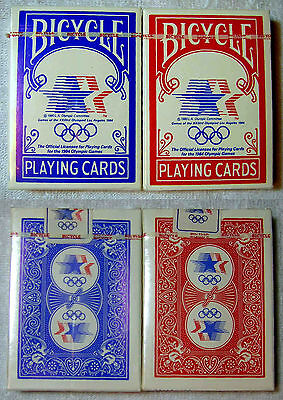 NEW 1984 OLYMPIC GAMES PLAYING CARDS Bicycle 2 Decks Blue Red Los Angeles USA
