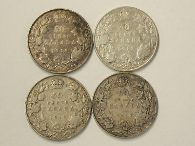 1919 Canada 50 Cents Lot of 4 Silver Coins  #G666