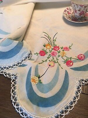 Vintage Embroidered Printed Cotton/Linen Tablecloth