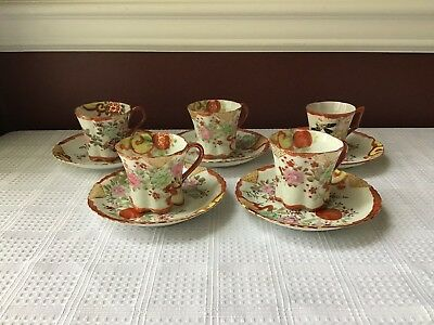 Lot Of 10 Piece Antique Asian Thin Hand Painted Porcelain Tea  Cups & Saucers
