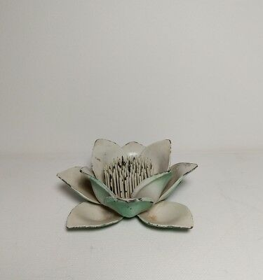 Vintage Cast Aluminum Flower Arranging Frog, Shabby Chic Lily Pad Design